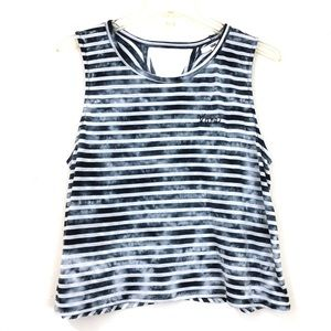 Vans Logo Striped Tie Dye Crop Cutout Tank